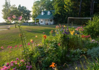 stable flower garden lawn